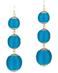 Gottex - Plated Thread Ball Blue Drop Earrings - Lyst