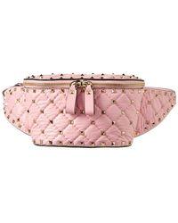 Valentino Rockstud Spike Leather Belt Bag - Pink