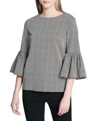 Calvin Klein Plaid Bell-sleeve Blouse - Gray