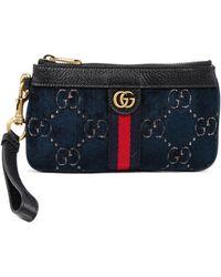 Gucci Blue GG Monogram Velvet & Black Leather Smartphone Case Wristlet