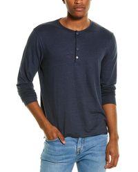 Theory Steg Linen-blend Henley Shirt - Blue