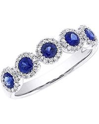 Diana M. Jewels . Fine Jewelry 14k 0.90 Ct. Tw. Diamond & Blue Sapphire Ring