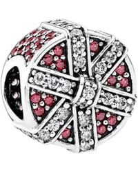 PANDORA - Silver & Red Cz Shimmering Gift Charm - Lyst