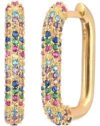 Gabi Rielle Love Is Declared 14k Over Silver Crystal Square Huggie Earrings - Metallic