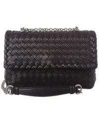 Bottega Veneta Olimpia Baby Intrecciato Leather Shoulder Bag - Black