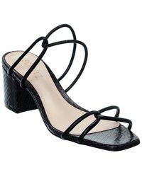 Schutz Airana Snake-embossed Leather Sandal - Black