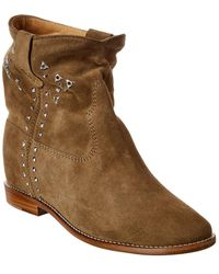 Isabel Marant Etoile Crisi Suede Bootie - Green