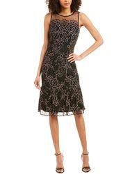 Adrianna Papell Maria Floral Lace Midi Dress - Black