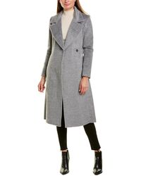 Cole Haan Tie-waist Wool & Alpaca-blend Wrap Coat - Grey