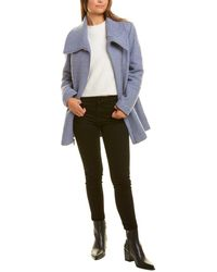 Kenneth Cole Boucle Wool-blend Coat - Blue