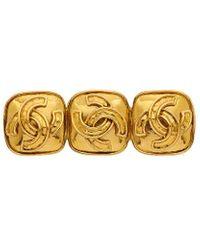 Chanel Gold-tone 3 Cc Square Brooch - Metallic