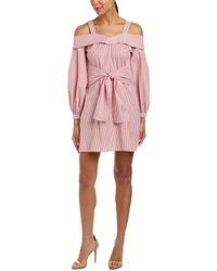 Laundry by Shelli Segal - Cold-shoulder Striped Shirtdress - Lyst