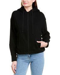 Vince Sherpa Hooded Zip-up Hoodie - Black