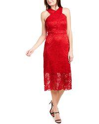 Sam Edelman Sleeveless Criss Cross Lace Neck Sheath Dress - Red