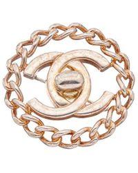 Chanel Silver-tone Turnlock Cc Pin - Metallic