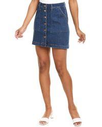 J.Crew Button Front Mini Skirt - Blue