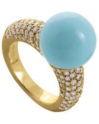 Marco Bicego Africa 18k 1.75 Ct. Tw. Diamond & Turquoise Cocktail Ring - Metallic