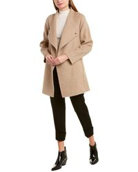 Vince Draped Sweaterback Wool-blend Coat - Brown