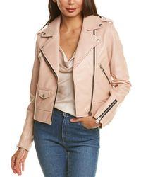 Mackage Baya-r Leather Moto Jacket - Pink