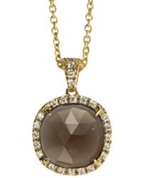 Marco Bicego Jaipur Color 18k 0.17 Ct. Tw. Diamond & Smokey Quartz Pendant Necklace - Metallic