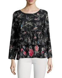 Plenty by Tracy Reese Pleated Floral T-shirt - Black