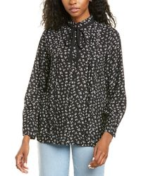 Cece By Cynthia Steffe Ditsy Etching Blouse - Black