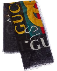 Gucci Coco Capitan Logo Silk-blend Scarf