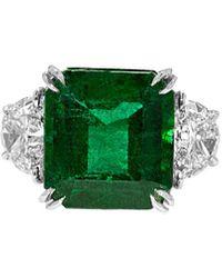 Diana M. Jewels . Fine Jewellery Platinum 10.76 Ct. Tw. Diamond & Emerald Ring - Green