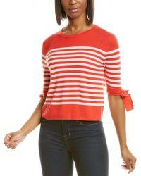 Autumn Cashmere Breton Stripe Cashmere Top - Red