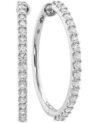 Hearts On Fire 18k 1.25 Ct. Tw. Diamond Classic Hoops - Multicolor