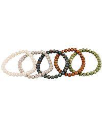 Splendid 6-7mm Freshwater Pearl Stretch Bracelet Set - Metallic