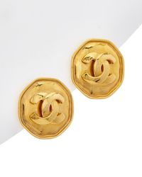 Chanel - Gold-tone Cc Octagon Clip-on Earrings - Lyst
