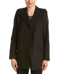 The Kooples - Double-breasted Leather-trim Wool & Cashmere-blend Coat - Lyst