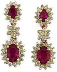 Effy Fine Jewelry 14k 3.43 Ct. Tw. Diamond & Ruby Earrings - Multicolor