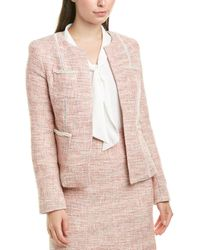 Tahari Metallic Boucle Jacket - Pink
