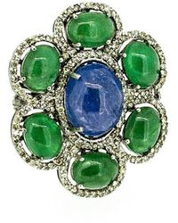 Arthur Marder Fine Jewelry Silver 1.02 Ct. Tw. Diamond & Gemstone Ring - Green