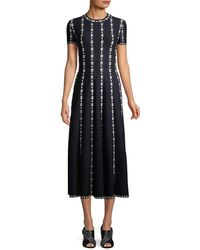 Alaïa - Embroidery Midi Dress - Lyst