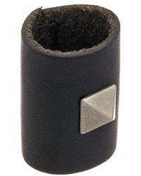 Valentino Rockstud Leather Scarf Ring - Black
