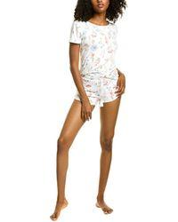 Flora Nikrooz 2pc Lola Printed Shirt & Short Set - White