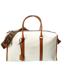 Fendi Canvas & Leather Duffel Bag - White
