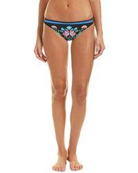 Nanette Lepore Damask Floral Charmer Bikini Bottom - Blue