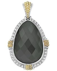 Lagos Gala 18k & Silver 0.48 Ct. Tw. Diamond & Hematite Doublet Pendant - Metallic