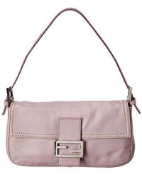 Fendi Purple Leather Baguette Bag