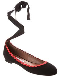 Tabitha Simmons Daria Embroidered Ankle-wrap Suede Flat - Black