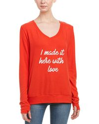 Peace Love World Comfy Sweatshirt - Red