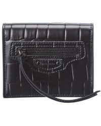 Balenciaga Neo Classic Flap Coin Croc-embossed Leather Card Holder - Black