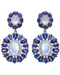 Arthur Marder Fine Jewelry Silver 2.25 Ct. Tw. Diamond & Gemstone Earrings - Blue