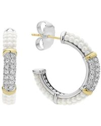 Lagos White Caviar 18k Over Silver 0.62 Ct. Tw. Diamond White Ceramic Hoops