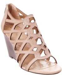 Adrienne Vittadini - Alby Leather Wedge Sandal - Lyst