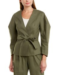 BCBGMAXAZRIA Tie-front Linen-blend Jacket - Green